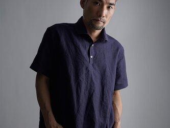 【Mサイズ】【wafu】Linen Polo ポロシャツ 超高密度リネン/黒紅色 くろべにいろ t053a-kbi1-Mの画像