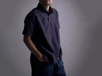 【Lサイズ】【wafu】Linen Polo ポロシャツ 超高密度リネン/黒紅色 くろべにいろ t053a-kbi1-Lの画像