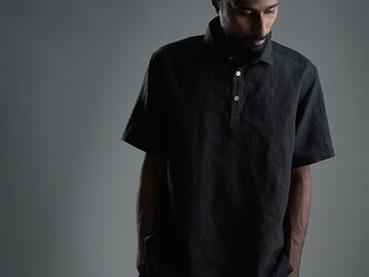 【Lサイズ】【wafu】Linen Polo Shirt ポロシャツ 超高密度リネン /黒色 t053a-bck1-Lの画像
