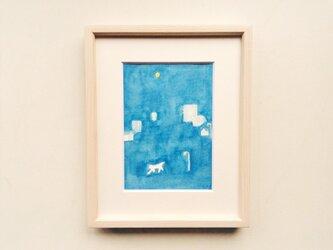 「夜の散歩」 イラスト原画 ※木製額縁入りの画像