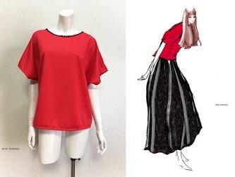 【1点もの・デザイン画付き】ドットクールニットゆったり着物袖トップス(KOJI TOYODA)の画像