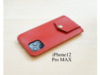 【新作】手縫い本革のiPhone12ProMAX カバー ケース 栃木レザー【名入れ無料・選べる革とステッチ】の画像