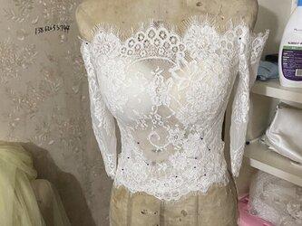 ウエディングドレス オフショルダー ボレロ 編み上げ トップスのみの画像