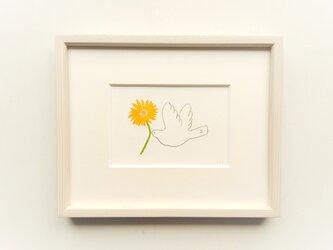 【受注制作】「幸せを運ぶ(ガーベラ)」イラスト原画 ※木製額縁入りの画像