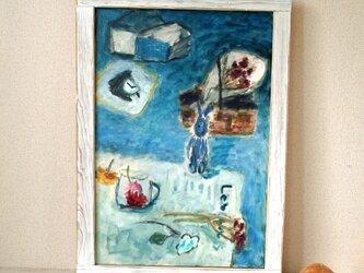 兎のいる油絵の画像