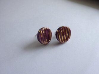 金彩stripeピアス/イヤリング(紫)の画像