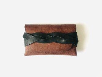 カードケース brown×blackの画像