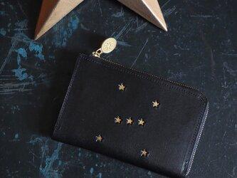 L字ファスナー ミドル財布(ORION ブラック)牛革 レディース メンズ 星の画像