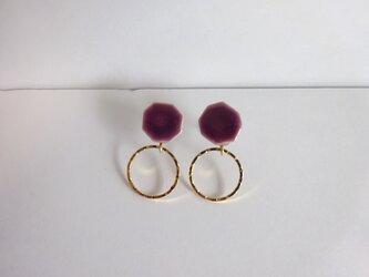 八角とgold ringの陶ピアス/イヤリング(紫)の画像