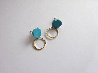 八角とgold ringの陶ピアス/イヤリング(ターコイズカラー)の画像