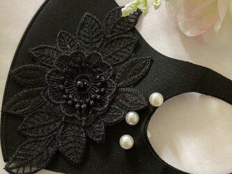 冷感マスク黒ケミカルフラワーパール洗える UVカット 接触冷感 花粉症  ウィルス 対策 涼しいマスク 夏用マスクの画像
