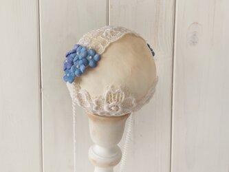 〈染め花〉ドール用レースと勿忘草のヘッドドレス(シンプルタイプ・M・ライトブルー)の画像