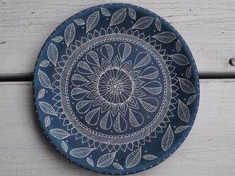 青い中皿(魚とタツノオトシゴとヒトデ)の画像