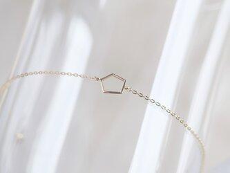 New✶K10YG fimmtungur bracelet:変形五角形 透かしブレスレット 10金ゴールドの画像