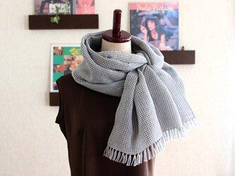 リネン×コットン 手織りストール  (グレーXホワイト)の画像