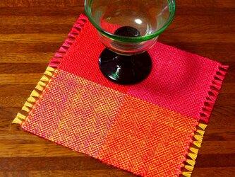 手織り カラーリネンのリバーシブルミニマット(№9)の画像