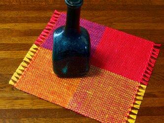 手織り カラーリネンのリバーシブルミニマット(№10)の画像