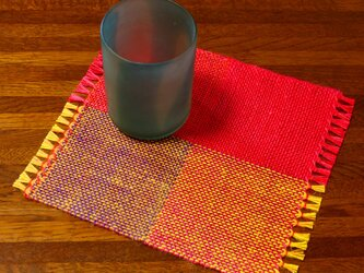 手織り カラーリネンのリバーシブルミニマット(№11)の画像