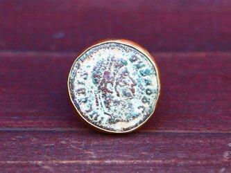 古代スタイル*ローマンコイン ブロンズ 指輪*9号 SVの画像