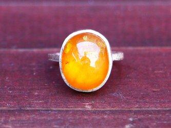 古代スタイル*天然オレンジサファイア 指輪*7号 SVの画像