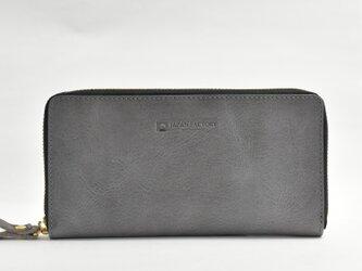日輪レザー グレージュ 長財布 スキミング防止付き 日本製 本革 名入れ 金具付き持ち手 JAW021の画像