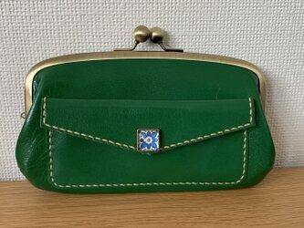 【送料無料】外ポッケが付いた、本革親子がまぐち長財布の画像