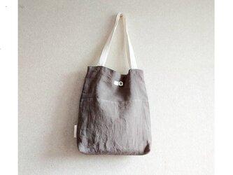 リネンの肩掛けbag    グレー+白の画像
