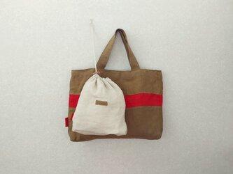 秋色リネンの手提げbag  巾着付き A   モカ茶+赤の画像