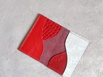 カードケース 本革 名刺入れ パスケース レッドの画像