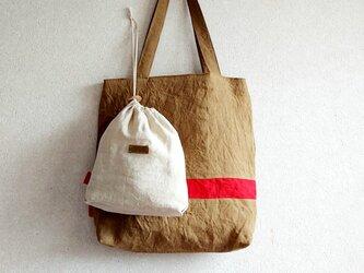 秋色リネンの肩掛けbag 巾着付き B    モカ茶+赤の画像