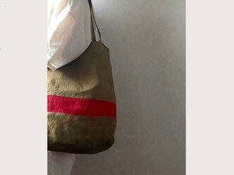 秋色リネンの肩掛けbag  C   モカ茶+赤の画像