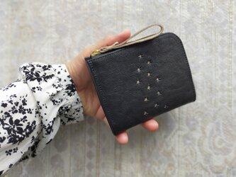 革財布『天の川』BLACK(二つ折りミニ財布)ヤギ革の画像