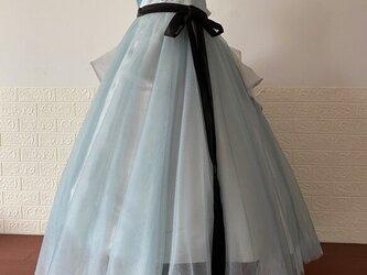 素敵なカラードレス ブルー サッシュベルト オリジナル 舞台ドレス 二次会の画像