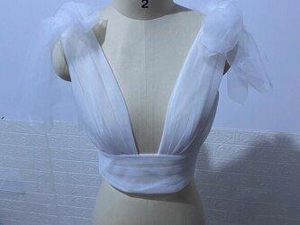 ウェディングドレス/ イブニングドレス 専用 ボレロ 着用方法多数 調整可能の画像