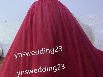 ボルドーカラードレス オフショルダー 結婚式、二次会、挙式の画像