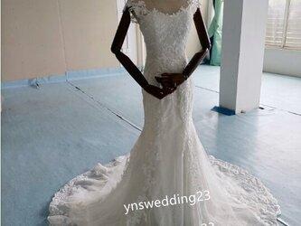 高品質! ウエディングドレス 3D立体レース刺繍 くるみボタン 前撮り 二次会 花嫁の画像