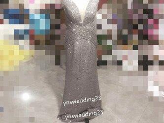 高品質! イブニングドレス シルバー マーメイドライン 抜群のおしゃれ見えの画像