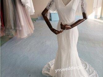 大人気上昇 ホワイトウエディングドレス 3D立体レース刺繍 パール マーメイドの画像
