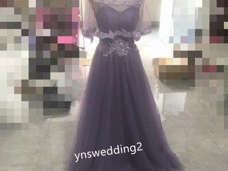 カラードレス パープル/紫 上質オーガンジー 繊細レース  Aライン  豪華!ロングドレスの画像