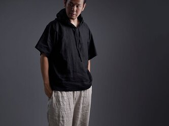 【wafu】Linen Hoodie ビックパーカー 男女兼用 /黒色 t047f-bck1の画像