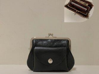 姫路レザー親子がま口財布◆角12cm 黒 ポッケ付きの画像