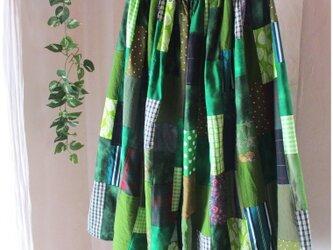 Green♥絵画なパッチワーク ロングギャザースカート リネン コットン ウエストゴムの画像
