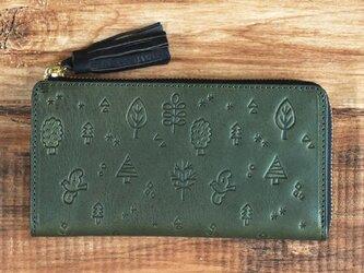 栃木レザー 北欧風 花鳥風月 オリジナル柄 L字型長財布 本革 牛革 タッセル付き  グリーン JAW024の画像
