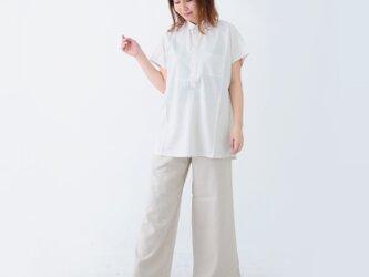 【ネット限定】 レーヨン & リネン シャツ 半袖 麻 ゆったりサイズ M L オフホワイト ユニセックスの画像