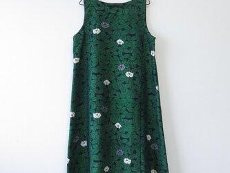 S様ご予約品*アンティーク着物*椿模様手織り真綿紬のワンピース(Lサイズ)の画像