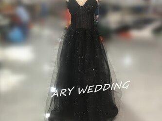 大人気上昇カラードレス 黒 ベアトップ トレーン エレガント ピアノ演奏会/音楽会/発表会など/教会の画像