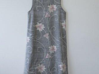 *アンティーク着物*花模様手織り真綿紬のワンピース(Lサイズ)の画像