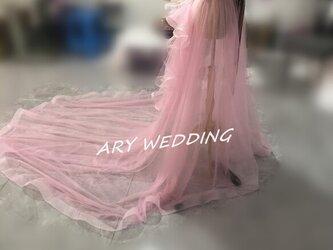 ウエディングチュールスカート ストロベリーピンク ロングトレーン 可愛い リボンが漂う オーバースカートの画像