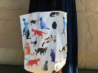 コンパクト おかいのもかばん カラフルねこ 受注製作の画像
