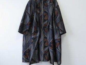 *アンティーク着物*抽象模様手織り真綿紬のへちまカラーローブ(大きめサイズ)の画像